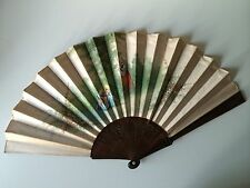 ANTIQUE FAN HAND PAINTED SILK Carved Lattice Filigree WOOD SPAIN SPANISH/FRENCH