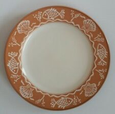 "Mikasa Terra Stone SEA MELODY CAV03 11"" Dinner Plate (s) Orange w/ Fish & Shells"