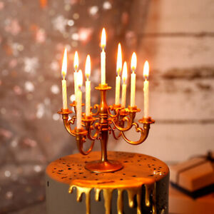 Romantic European Candlestick with Candles Gold Happy Birthday Cake Topper Decor