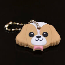 1Pc Cute Puppy Pug Cat Rabbit Key Cover Cap Keychain Key Ring PVC Unisex Gift CA