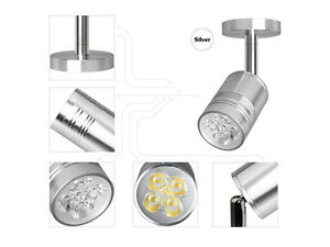 3W LED Surface Mount Wall Spotlight Silver Ceiling Lamp Pure White Fixture