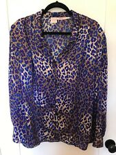 Vintage Tess 80's Blue and Purple Animal Print Blouse Plus 22W/42