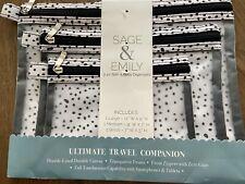 NEW Sage & Emily Travel Organizer Bath Body Cosmetic Bag Set 3 Black White Dot