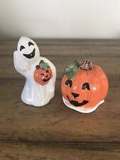 "New ListingHalloween Fitz and Floyd ""Pumpkin Ghosts"" Salt and Pepper Shakers Nib"