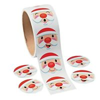 Santa Face Stickers Roll of 100 Holiday Party Favors