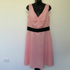'LAURA ASHLEY' BNWT SIZE '12' PINK & BLACK SLEEVELESS LINED COTTON DRESS