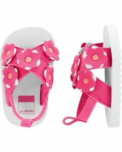 Carter's Floral Sandal Baby Shoes Pink Flowers 9-12, 12-18 months NWT
