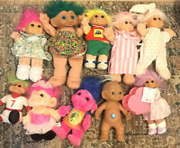 Lot of 10 Vintage Troll Dolls Russ Various Large Sizes