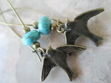 Bronze Earrings with Swallow Love Bird Howlite Turquoise Stones on Kidney Wires