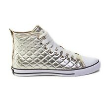 Dolce & Gabbana Gold Quilted Leather High Top Sneakers With Box Shoe Bag 36 7US