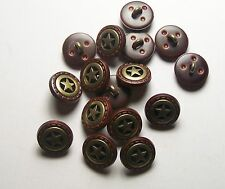 Pack of 8 16mm Brown Faux Leather and Metal Gold Star Button   2004