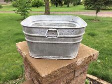 Vintage Primitive Galvanized Steel Square #62 Wash Tub Garden Decor Planter