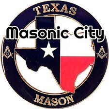 Z-154 TEXAS Masonic Auto Emblem STATE SERIES TX FreeMasonry Car Mason AF&AM