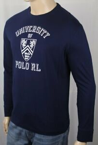Polo Ralph Lauren Navy University Crew Neck Classic Long Sleeve Tee T-Shirt NWT