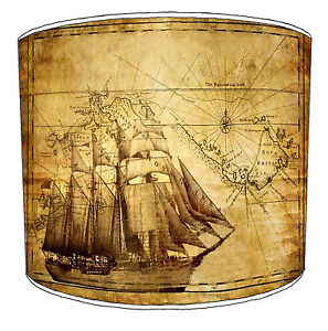 Nautical Compass Maps Lampshades, Ideal To Match Maritime Ships Wallpaper