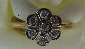 NEW Real 18ct 750 yellow white gold 7 diamond cluster ring Grade H VSI size N