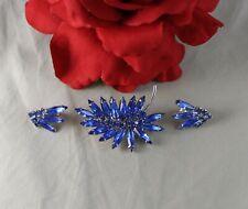 Vintage Blue Rhinestone Brooch Pin Earrings Set Cat Rescue