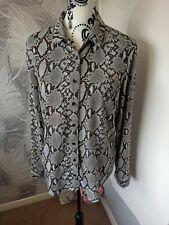 New Look Ladies Grey Animal Snake Print Shirt Top Size 10