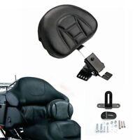 Adjustable Plug-In Driver Rider Backrest Kit For Harley 97-17 Touring FLTR FLHT