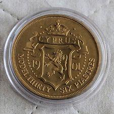 Cipro 1901 REGINA VITTORIA IN BRONZO prova modello 36 PIASTRES