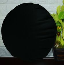 PL11n Black Canvas Water Proof Outdoor Round Shape Cushion Cover Custom Size