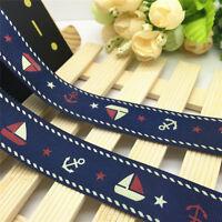 NEW DIY 5 Yards 1'' 25mm Blue Sailing Printed Grosgrain Ribbon Hair Bow Sewing