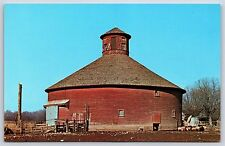 Round Barn R.F. Thompson Farm in Lodi, Indiana Parke County Postcard Unused