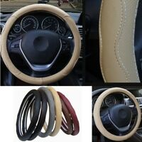 Four Seasons PU Leather Auto Steering Wheel Cover Beige Skid-proof No Fade 38cm