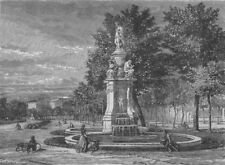 MADRID. Fountain of the Four Seasons, Prado 1882 old antique print picture