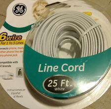 Telephone Line Cord 25' ft Connects Phone Modem Fax to Phone Jack NEW