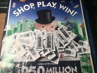 2019  monopoly 100 game ticket pieces + game board + 100 coupons x 50 cents off