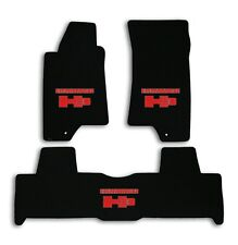 2006 Hummer H3 - Black Velourtex Carpet 3pc Mat Set - Red Hummer H3 Logo