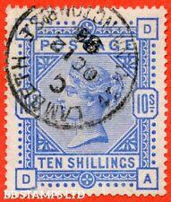 """SG. 183. K14 (2). """" DA """". 10/- ultramarine. A very fine """" 12th October 18 B41360"""