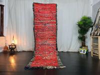 """Vintage Moroccan Handmade Runner Rug 2'8""""x9'2"""" Berber Geometric Red Wool Carpet"""