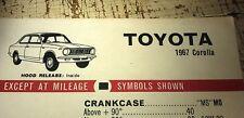 1967 TOYOTA COROLLA  - SHELL Australia Lube Chart