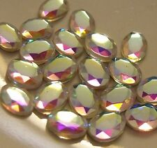 CLEAR AB OVAL VINTAGE GLASS CABOCHON