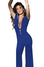 Azul profundo cuello en V Bare Back Moda Mono Catsuit CLUB WEAR SIZE UK 8-10
