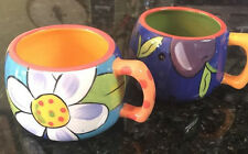 2 Starbucks 2006 Pefi Costa Rica Collectors Coffee Flower Daisy Plum Mug Cup