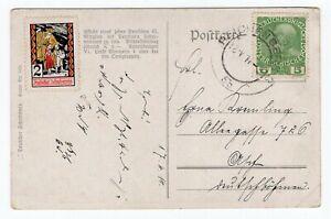 Austria 1914 - WWI Era - Patriotic Postcard / Cinderella Label Stamp -