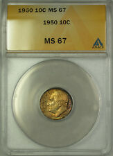 1950 Silver Roosevelt Dime 10c ANACS MS 67 Obverse Toning