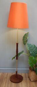 VINTAGE TEAK & BRASS STANDARD / FLOOR LAMP WORKING & VINTAGE ORANGE LAMPSHADE