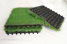 Artificial Grass Turf Tile Interlocking Self Draining Mat Quality Outdoor (6Pk)