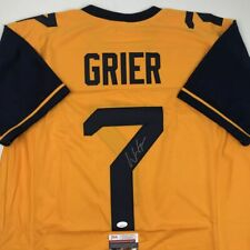 Autographed/Signed WILL GRIER West Virginia Yellow College Jersey JSA COA Auto