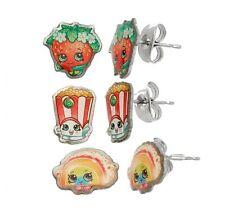 Shopkins Stainless Steel Earrings Set Strawberry Kiss, Poppy Corn, Rainbow Bite