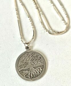 Vintage Style Solid Sterling Silver Tree of Life Pendant & Fancy chain Necklace