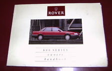 Rover 800 Series Owner's Manual 1990 (series 1)