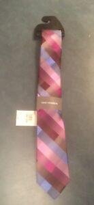 Van Heusen Men's 100% Silk Multicolored Pinks & Blues Classic Checked Tie NWT