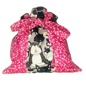 Bandanna French Bulldog Dogs Pouch Gift Makeup Cosmetic Toy Bag Handmade ~ BNWOT