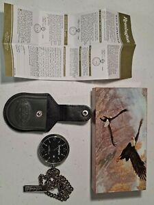REMINGTON POCKET WATCH W/ LEATHER CASE & CHAIN, NEW BATTERY