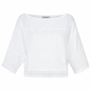 Paul & Joe Womens White Cotton Mesh 3/4 Sleeve Crop Top Blouse Shirt Size 1 NEW